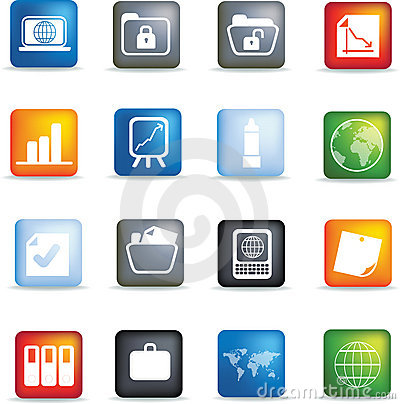 Free Office Icon Button Set Stock Images - 8636814
