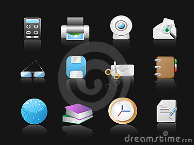 Office icons in black background
