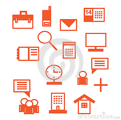 Office icons in red