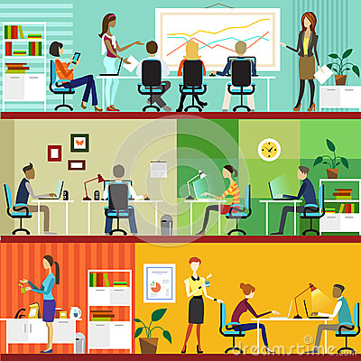 Free Office Interior And Working People Stock Photography - 35271462