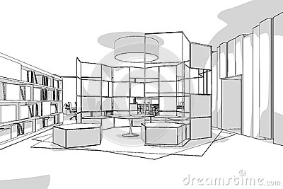 Office Interior Perspective Line Stock Illustration - Image: 64963243