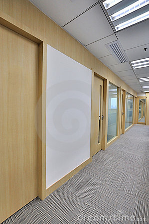 Office interior in wide