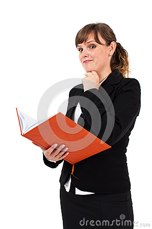 Office lady reading notebook