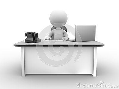 Office with a laptop and a phone