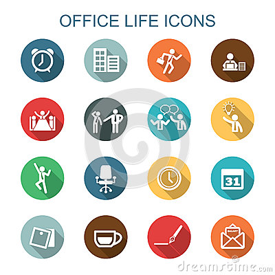 Free Office Life Long Shadow Icons Royalty Free Stock Photos - 47571588