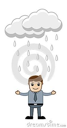 Office Man in the Rain
