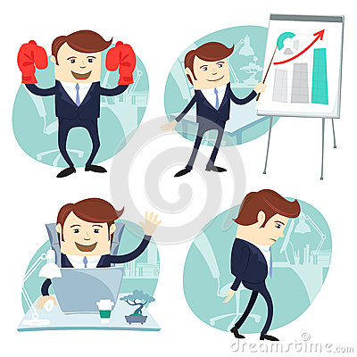 Free Office Man Set: Showing A Presentation, Happy Worker At His Desk Royalty Free Stock Image - 43910426