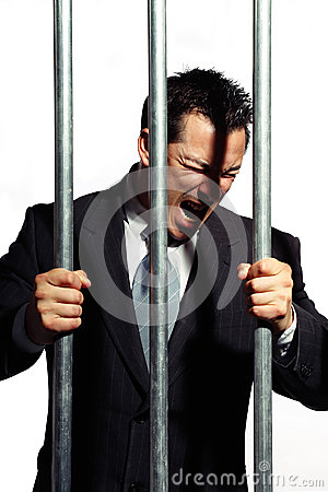 Office manager is screaming behind prison bars