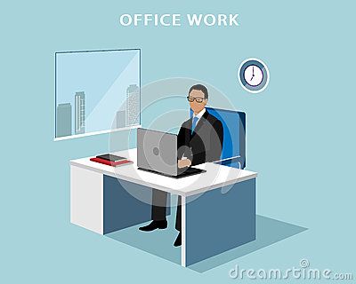 office manager working at computer in the office 3d