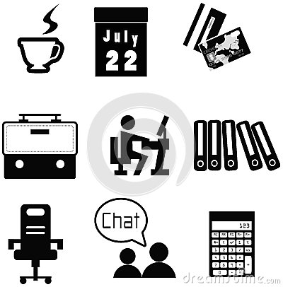 Office material icon collection set