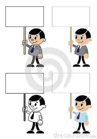 Office men with blank sign