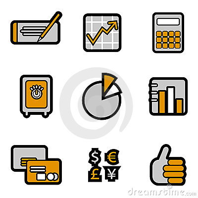 Office object icon set vector