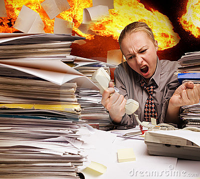 Free Office On Fire And Flying Paper Sheets Stock Images - 11949664