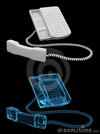 Office phone - transparent blue and black