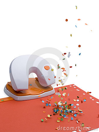 Office puncher with confetti rain