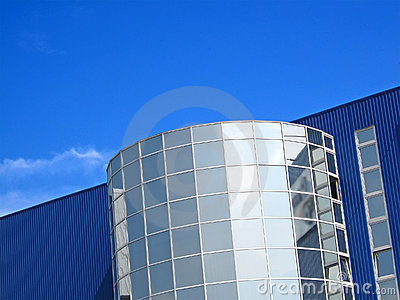 Office realestate modern building on blue sky,