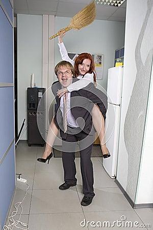 Office ride. Secretary rides his boss