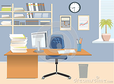 Office Room Vector Interior For Work With Table