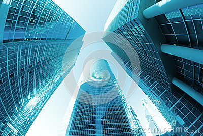 Office skyscrapers perspective blue