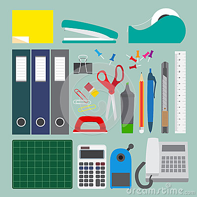 Free Office Stationery Set With Simple Style. Royalty Free Stock Image - 35779246