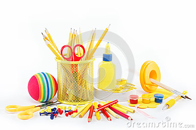 Office and student accessories isolated.