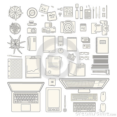 Free Office Stuff Collection Royalty Free Stock Photo - 65572345