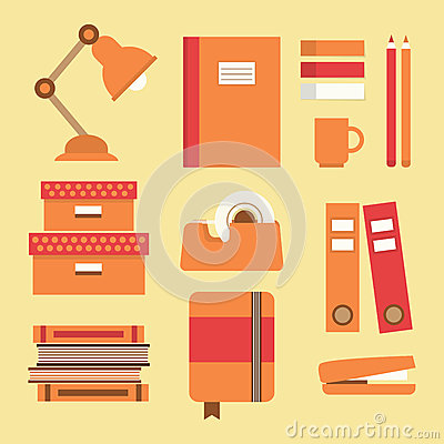 Free Office Supplies And Stationery Icons Set Royalty Free Stock Photos - 49178158