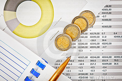 Office supplies, money and financial documents