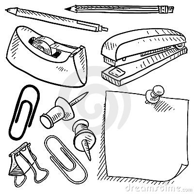Free Office Supplies Sketch Stock Photos - 23436283