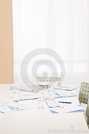 Office supply on table after business meeting