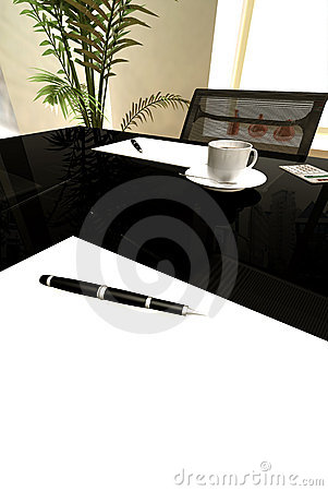 Office table with contract to