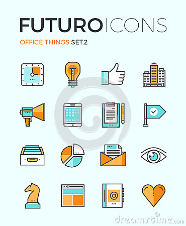 Free Office Things Futuro Line Icons Royalty Free Stock Image - 53565926