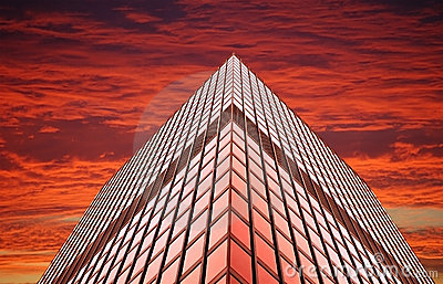 Office tower at sunset (or sunrise)