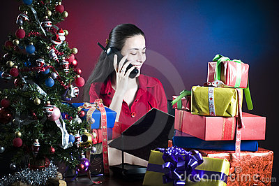 Office worker at Christmas