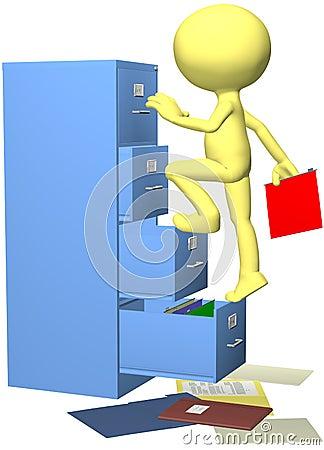 Office worker files folder in 3D filing cabinet