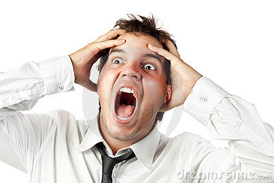 Office worker mad by stress screaming isolated