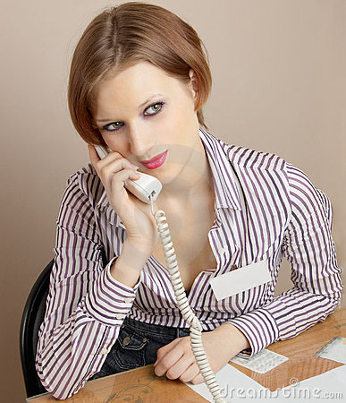 Office worker with phone