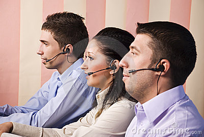Office workers in call centre