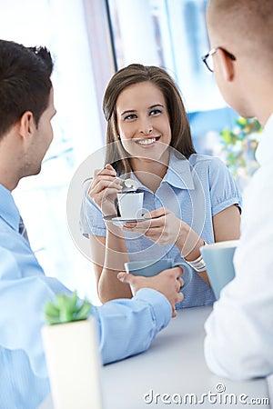 Office workers on coffee break