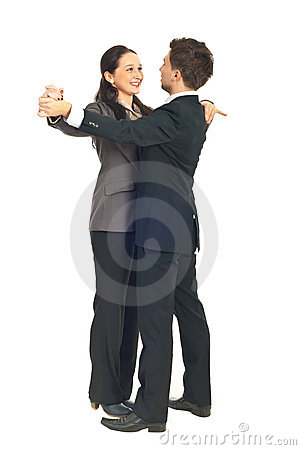 Office workers couple dance waltz