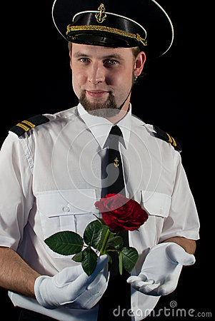 Officer giving the rose