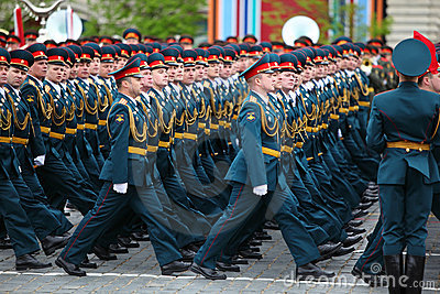 Officer soldiers march on rehearsal of parade Editorial Image