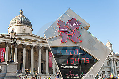 Official countdown clock for the Olympic and P Editorial Stock Photo
