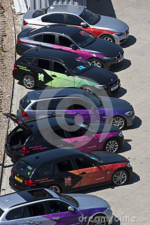 Official London 2012 Olympic BMW 5 series. Editorial Stock Photo