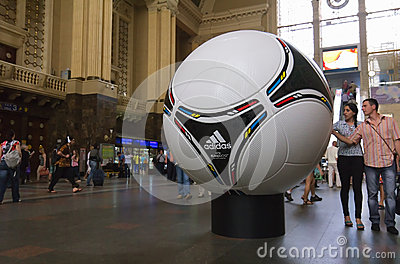 Official matchball of EURO 2012 POLAND - UKRAINE Editorial Stock Photo