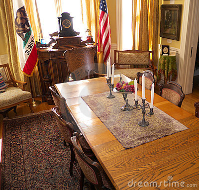 Official room with California and US flags Editorial Photo
