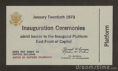 Official Ticket to the Inauguration Richard Nixon Editorial Image