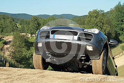 Offroad car on top of a hill
