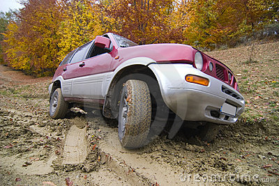 Driving offroad on mud track