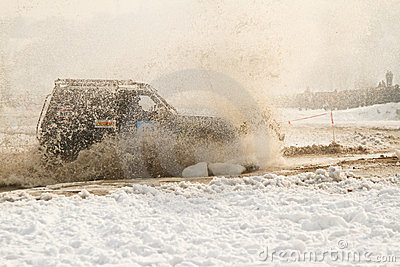 Offroad race cars in the river on road racing Editorial Stock Photo